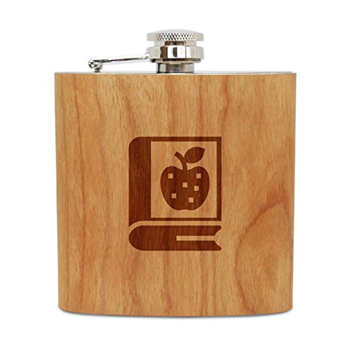 WOODEN ACCESSORIES COMPANY Cherry Wood Flask With Stainless Steel Body - Laser Engraved Flask With Nutrition Book Design - 6 Oz Wood Hip Flask Handmade In USA (Nutrition Flask)