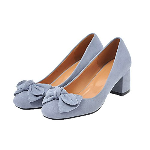 Odomolor Women's Closed-Toe Kitten-Heels Frosted Solid Pull-On Pumps-Shoes Blue oESrKBvwR