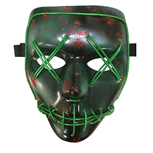 PhoebeTan Himine Halloween Mask LED Light up Purge Plastic Mask Cosplay Mask for Festival Party (Green) -