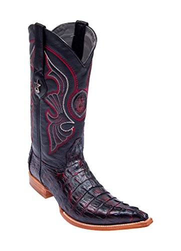 Los Altos Men's 3X-Toe Black Cherry Genuine Leather Caiman Tail Western Boots