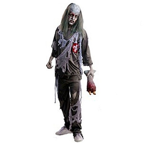 [LETSQK Adult Zombie Soul Taker Devil Phantom Skeleton Ghost Party Halloween Costume E] (Soul Taker Costume Amazon)
