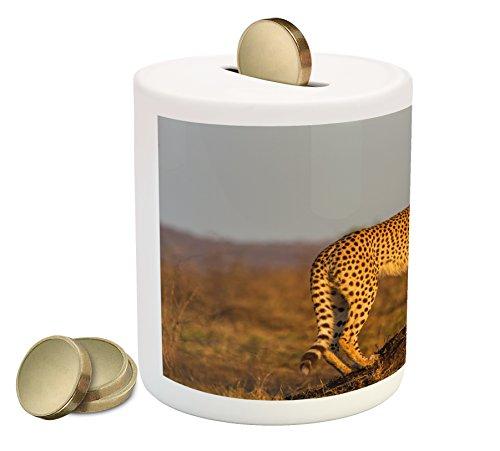 Ambesonne Safari Piggy Bank, African Wild Animal Cheetah Standing on Termite Mound Savannah Nature View, Printed Ceramic Coin Bank Money Box for Cash Saving, Ginger Apricot Dust