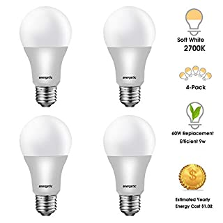 60 Watts 2700K Soft White A19 LED Light Bulbs, 750 Lumens, Non-dimmable, UL Listed, E26 Base