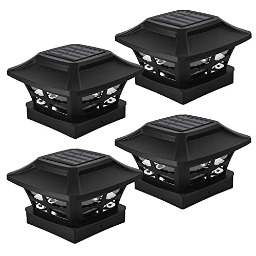 Ninxiao Solar Post Light Outdoor, Waterproof Post Cap Lights Solar Powered for 4 x 4 inch Vinyl and Wooden Posts, Garden Decorations 2 Modes Warm White/Cool White, Black (4 Pack)