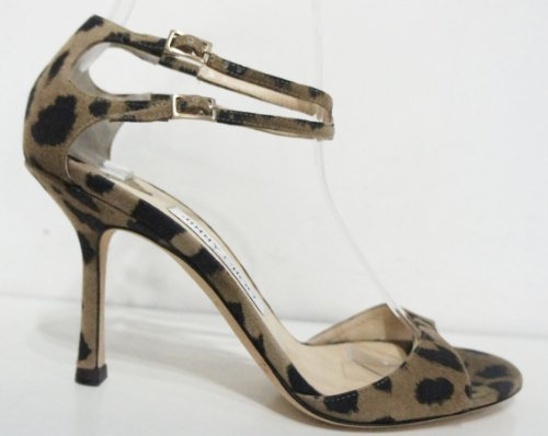 Jimmy Choo Brown Animal Print Double Buckle Sandal's 04nrMiLr