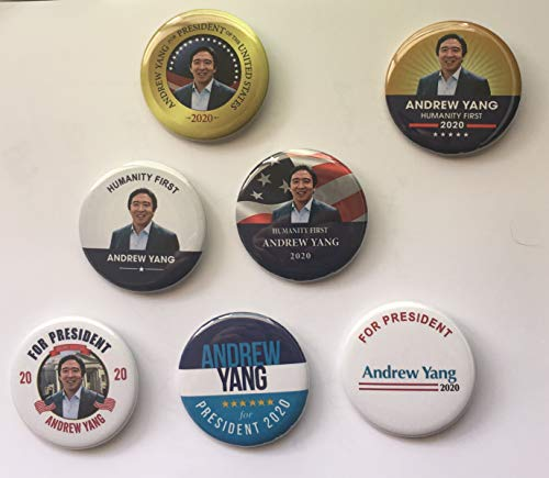 (Presidential Election Historical Center Andrew Yang 2020 Campaign Buttons Set of 6 + 1 Free - 2.25 inches)