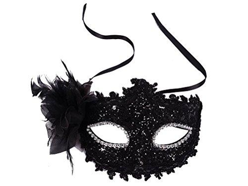Meelino Venetian Floral Feather Rhinestone Princess Mask Masquerade Party -