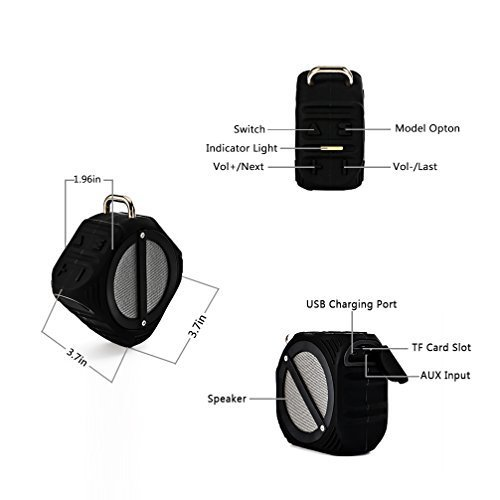SKYSON Outdoor Waterproof Speaker, Bicycle Speaker Shockproof Shower Speaker, Motorcycle Speaker, with Bluetooth 4.1 Enhanced Bass, Built-in Mic, Hands-free, 2000mAh Battery