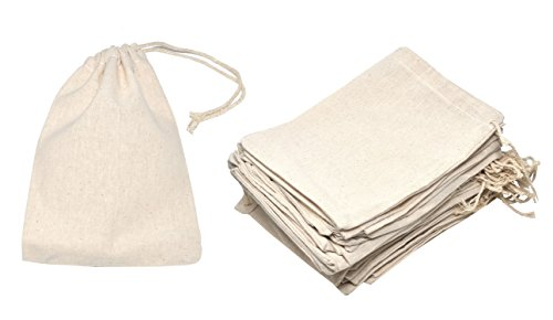Mandala Crafts Bulk Unbleached Fabric Cloth Cotton Muslin Sachet Bags with Drawstring for Soap Spice Tea Favor Gift (5 x 7 Inches 50 Count, Ivory)