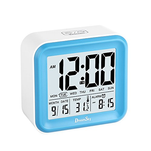 DreamSky Digital Alarm Clock With 3 Alarms And Night Light , Time/Date/Day of Week/Temperature Display,Battery Operated Portable Clocks