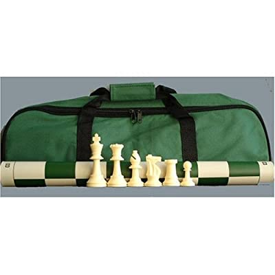 ChessCentral's Superior Tournament Chess Set with Chess Pieces, Green Chess Board, and Green Tote