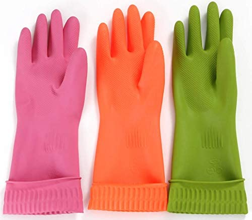 Reusable Waterproof Household Dishwashing Rubber Gloves–3 Pairs of Household Gloves,Orange, Green, Red, Non-Slip and Wear-Resistant, Suitable for Your Hands, Superior Kitchen Tools(Large)