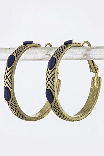 Bamboo Pattern Earrings (TRENDY FASHION JEWELRY DIAMOND PATTERN HOOP EARRINGS BY FASHION DESTINATION |)