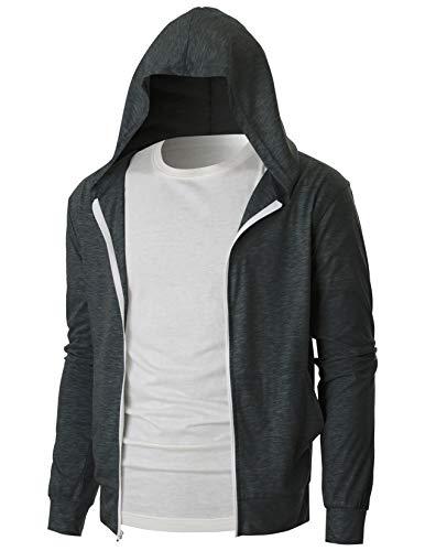 OHOO Mens Slim Fit Long Sleeve Lightweight Eco Zip-up Hoodie Sweatshirt with Kanga Pocket/DCF202-CHARCOAL-L