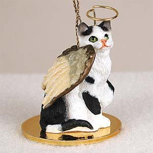 (Eyedeal Figurines BLACK and WHITE CAT Tabby MINIATURE Angel Christmas Ornament NEW CTA02)