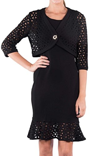 Joseph Ribkoff Black Laser Cut Out Coverup Jacket Style 163520 - Size 8 by Joseph Ribkoff