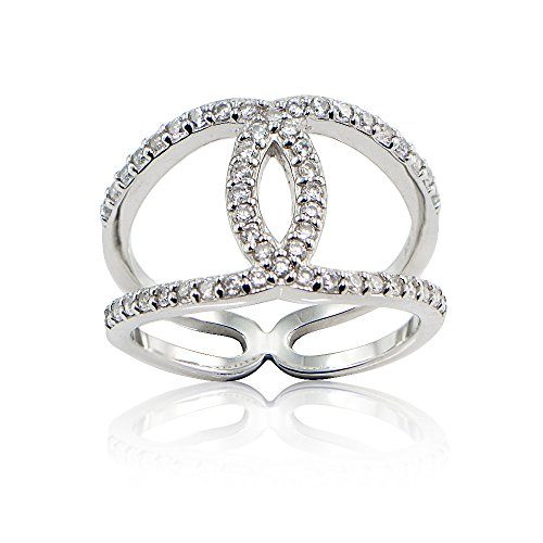 Sterling Silver Cubic Zirconia Interlocking Horseshoe Band Ring
