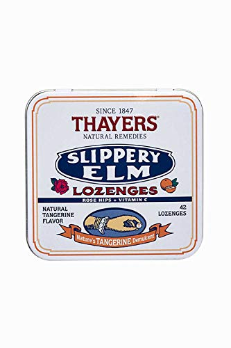 - Thayers Slippery Elm Lozenges, Tangerine, 42 Count