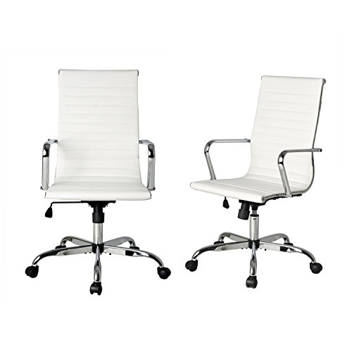 High Back White Ribbed Upholstered Leather Executive Swivel Conference Chair, Tilt Adjustable, Office Chair, Arm Rest Computer Chair (2 Pcs)