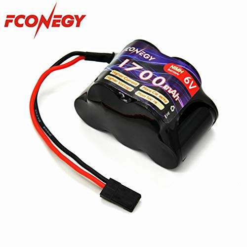 FCONEGY NiMH Battery Receiver Battery Pack 6.0V 1700mAh 5-Cell Hump Pack with BBL2 Plug for RC Transmitter and Receiver ()