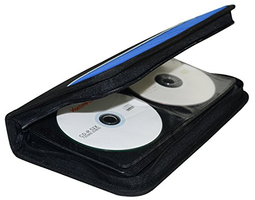XtremPro CD DVD VCD Blue-Ray Nylon Zipper Wallet Case 104 Capacity- Black, Blue (11097)
