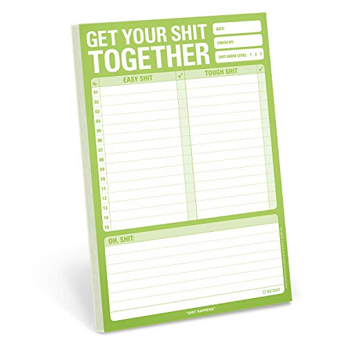 Knock Knock Get Your Shit Together Pad, To Do List Note Pad, 6 x 9-inches (List Of Office Supplies For Your Desk)