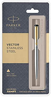 Parker Vector Stainless Steel Gold Accents Retractable Ballpoint Pen