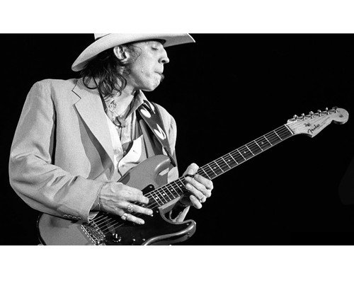 Stevie Ray Vaughan playing guitar in concert with stetson 8x10 HD Aluminum Wall Art