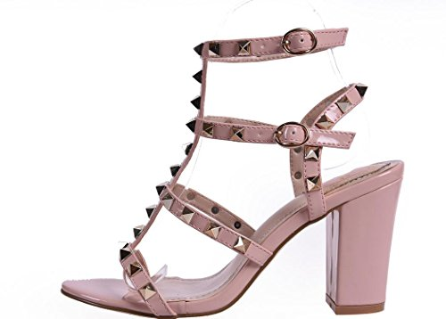 YCMDM Codice WomenBig scarpe col tacco alto arcobaleno cinghie Rivet sandali spessi Colore Rosa Nero albicocca 39 36 35 38 37 40 , pink , 38
