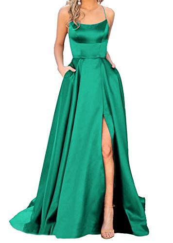 JASY Women's Spaghetti Satin Long Black Side Slit Prom Dresses with Pockets Beaded Fully Lined Skirt