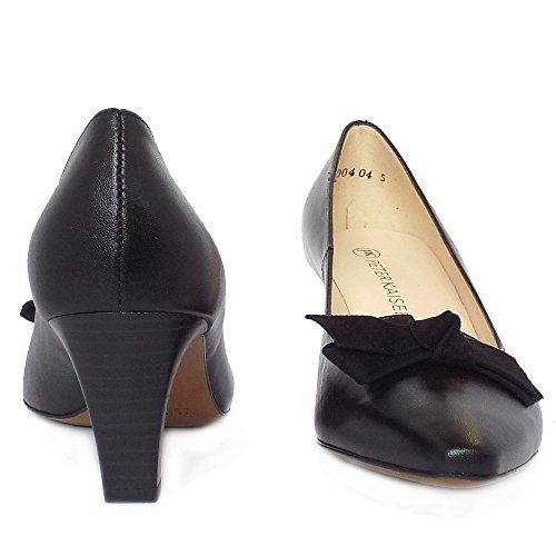 Peter Kaiser Leola Mid Heel Black Leather Court Shoes With Suede Bow Black DeqRjM
