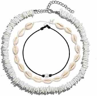 STEFii 3Pack Puka Shell Necklace Choker 3Pcs Set - Womens Seashell Necklace, Pearl Choker, Mens Hawaiian Puca Chip White Necklace - Handmade Sea Shells Beads Women Men Necklaces Surfer Chips Beach Jewelry