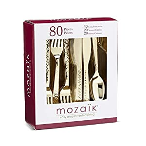 Mozaik Premium Plastic Hammered Assorted Gold Cutlery, 80 Pieces