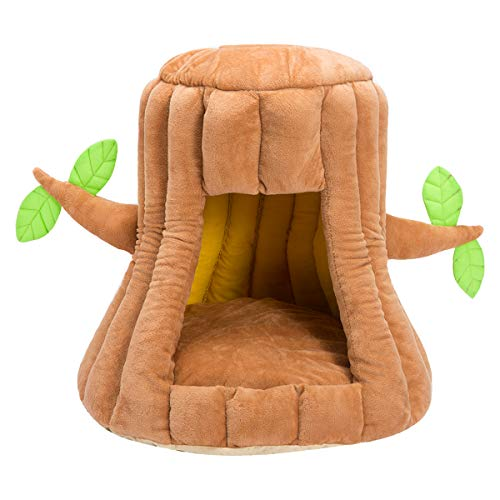 Hollypet Cozy Pet Bed Warm Cave Nest Sleeping Bed Tree Shape Puppy House for Cats and Small Dogs, Stump