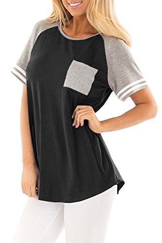 (Summer Women's Color Block Cotton Baseball Raglan Shirt Short Sleeve Pocket Casual Top Black and Grey L )