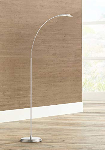 (Salvo Modern Arc Floor Lamp LED Adjustable Satin Nickel Metal Glass Shade for Living Room Reading Bedroom Office - Possini Euro Design )