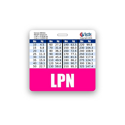LPN Badge Buddy Horizontal w/ Height & Weight Conversion Charts (Pink)