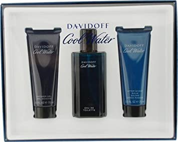 Cool Water By Davidoff For Men Edt Spray 2.5 Oz Aftershave Balm 2.5 Oz Shower Gel 2.5 Oz