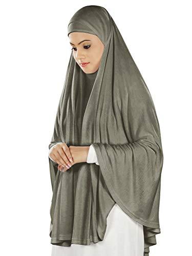 4868a9f8c Amazon.com: MyBatua Women's Prayer Khimar Ready to Wear Long Hijab with  Under Scarf in Soft Viscose Jersey, PY-002, CHARCOAL: Clothing