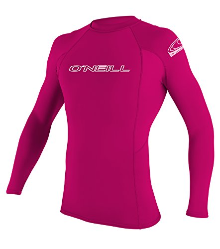 O'Neill Youth Basic Skins UPF 50+ Long Sleeve Rash Guard, Watermelon, 6