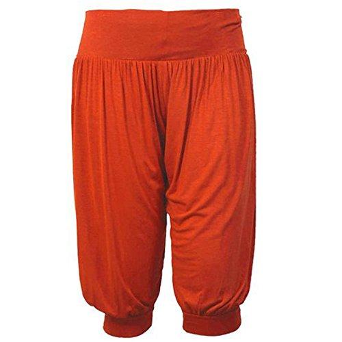 Pantalones anchos estilo árabe, largo pirata, cintura elástica, color liso Herrumbre