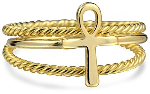 - 2 Set Stackable Minimalist 14K Gold Plated 925 Sterling Silver Egyptian Ankh Cross Ring 1MM Band Inset Cable Band