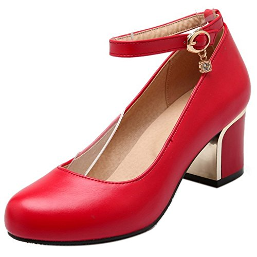 Elegant Women Closed Toe Party Heel Medium RizaBina Pumps Red UR5q5