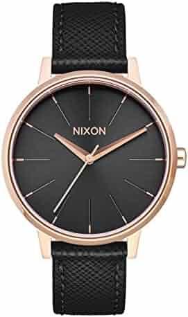 Nixon Women's Kensington Leather Watch Rose Gold/ Black