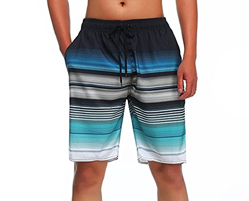Hawaiian Swim Trunks Lined (MILANKERR MEN'S SWIM TRUNK,Blue,Medium)