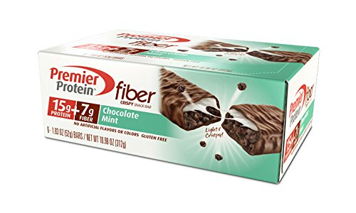 Premier Protein Fiber Crisp Bars, Chocolate Mint, 1.83 Ounce Bars (Pack of 6)