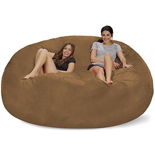 Earth Microsuede Covers - Chill Sack Bean Bag Chair: Giant 8' Memory Foam Furniture Bean Bag - Big Sofa with Soft Micro Fiber Cover - Earth