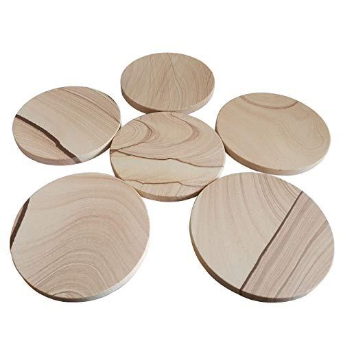 Coaster Sandstone Natural - Sandstone Coaster,Set of Six,Natural Sandstone 3.94 Inch Fashion Pattern,Cork Non-slip Back Cover