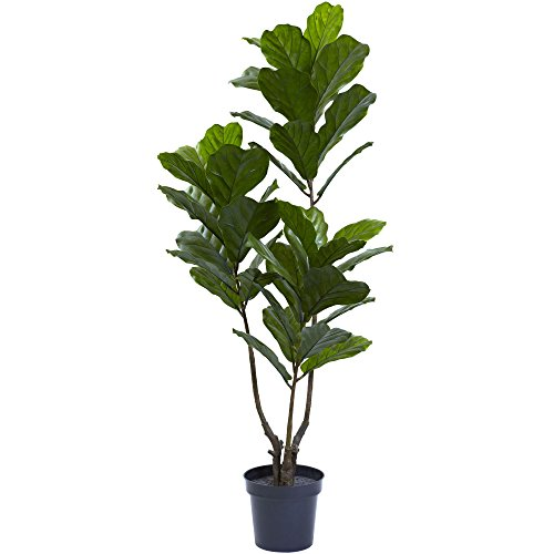 Leaf Tree Natural - Nearly Natural 5449 Fiddle Leaf Indoor/Outdoor UV Resistant Tree, 65