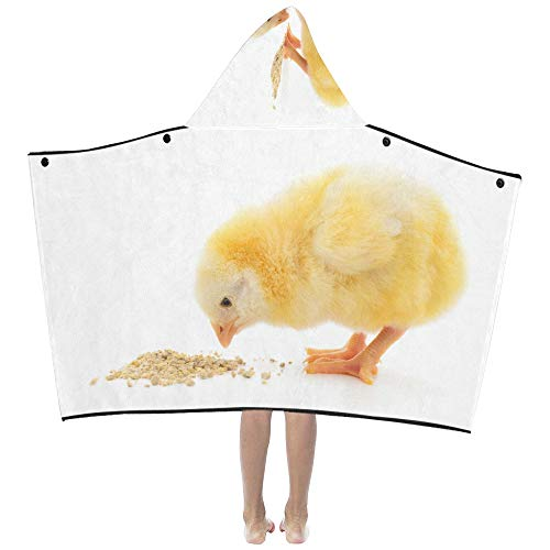 (Liaosax Lovely Small Chicken Soft Warm Cotton Blended Kids Dress Up Hooded Wearable Blanket Bath Towels Throw Wrap for Toddlers Child Girl Boy Size Home Travel Picnic Sleep Gift)